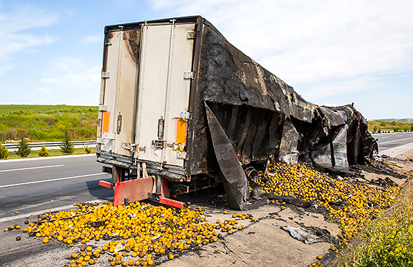 Improperly loaded truck which caused a highway accident.