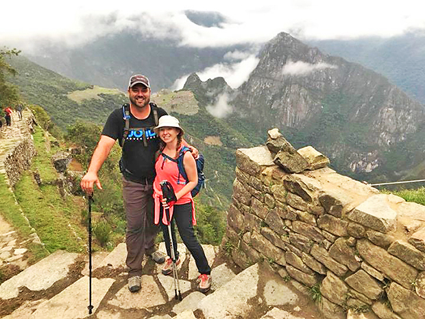 Machu Picchu, Peru (2017): Sam and his wife, Christina, at the Inti Punku (Sun Gate) pass on the Inca Trail shortly before descending to Machu Picchu on the fourth day of a hike in Peru.
